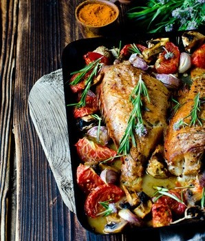 Lubina con verduras y salsa mery