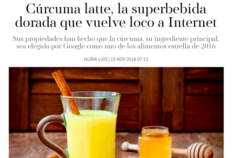 curcuma latte bebida