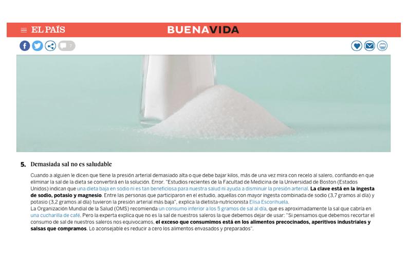 Desmontar Mitos de nutrición entrevista el País